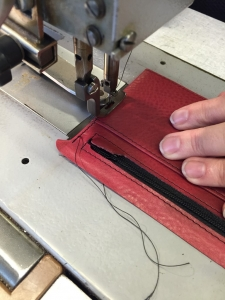 stitching the gusseted pocket